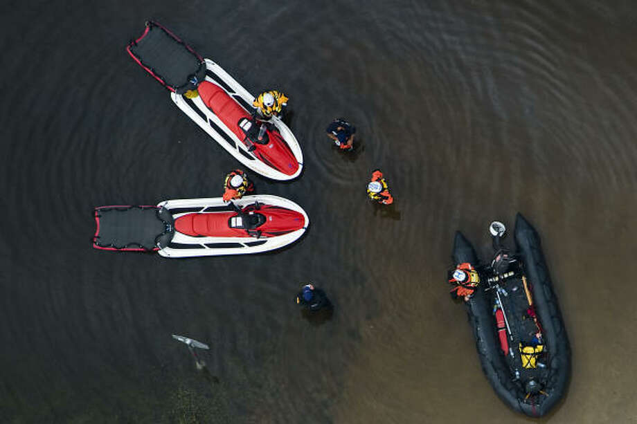 Rescue boats are seen in Bridge City,  Sunday, Sept. 14, 2008. Photo: Smiley N. Pool, Chronicle