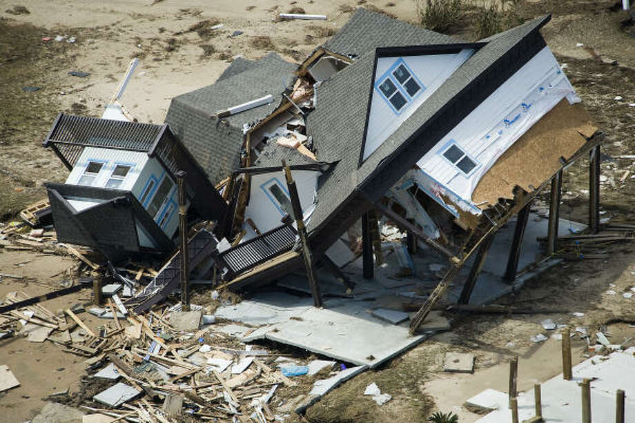 A beach house damaged by Hurricane Ike is seen in Crystal Beach, Monday, Sept. 15, 2008. Photo: Smiley N. Pool, Chronicle