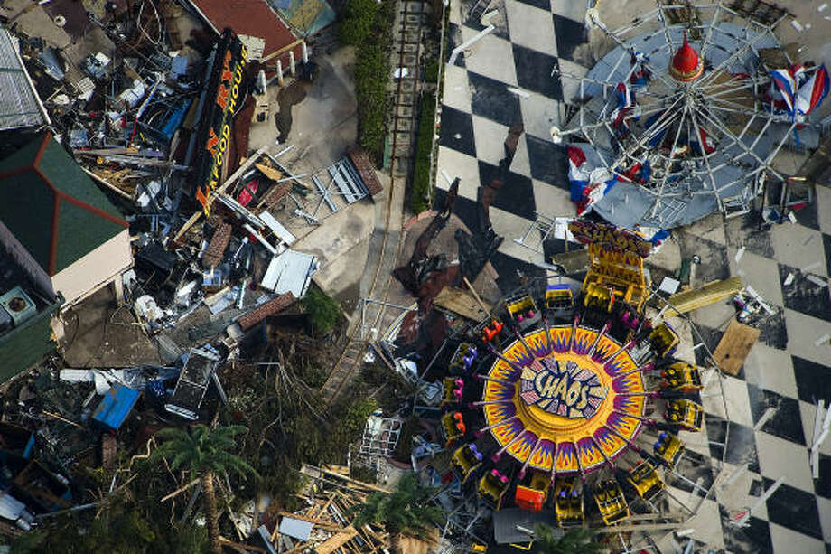 Debris surrounds amusement rides on the Kemah Boardwalk after Hurricane Ike, Monday, Sept. 15, 2008. Photo: Smiley N. Pool, Chronicle