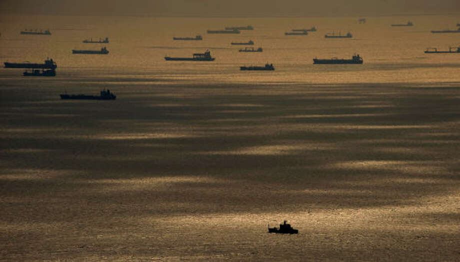 Ships wait off the shore at Galveston to enter the Houston Ship Channel,  Monday, Sept. 15, 2008 in Galveston following Hurricane Ike. Photo: Smiley N. Pool, Chronicle