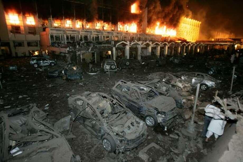 A massive truck bomb tore through the Marriott Hotel in Islamabad, Pakistan, on Saturday. Photo: B.K.Bangash, Associated Press