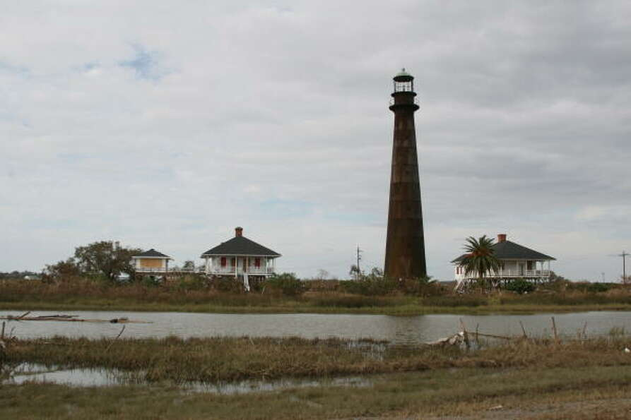 Still standing. The Bolivar Lighthouse, which survived the 1900 Storm, survived this latest assault.