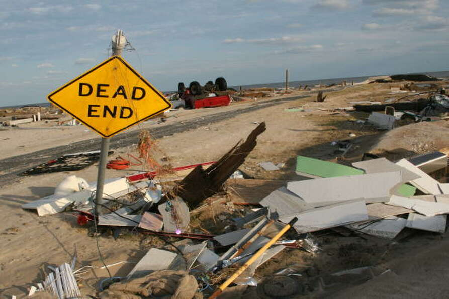 Devastation in Gilchrist on the Bolivar Peninsula. Bolivar Peninsula after Hurricane Ike.