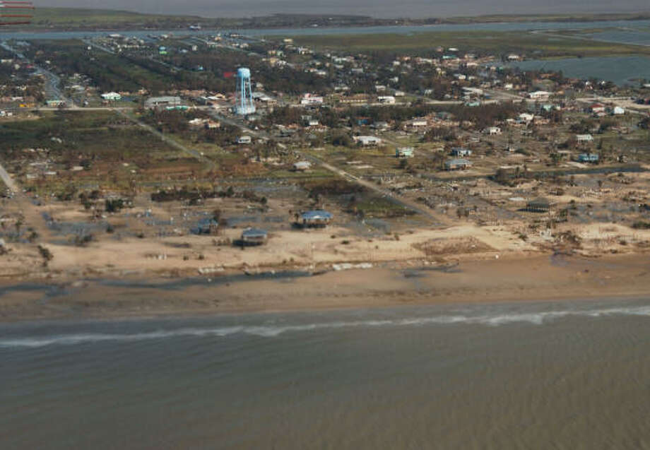 A photo of Crystal Beach on Monday, Sept. 15, reveals the hurricane's destruction. Photo: U.S. Geological Survey