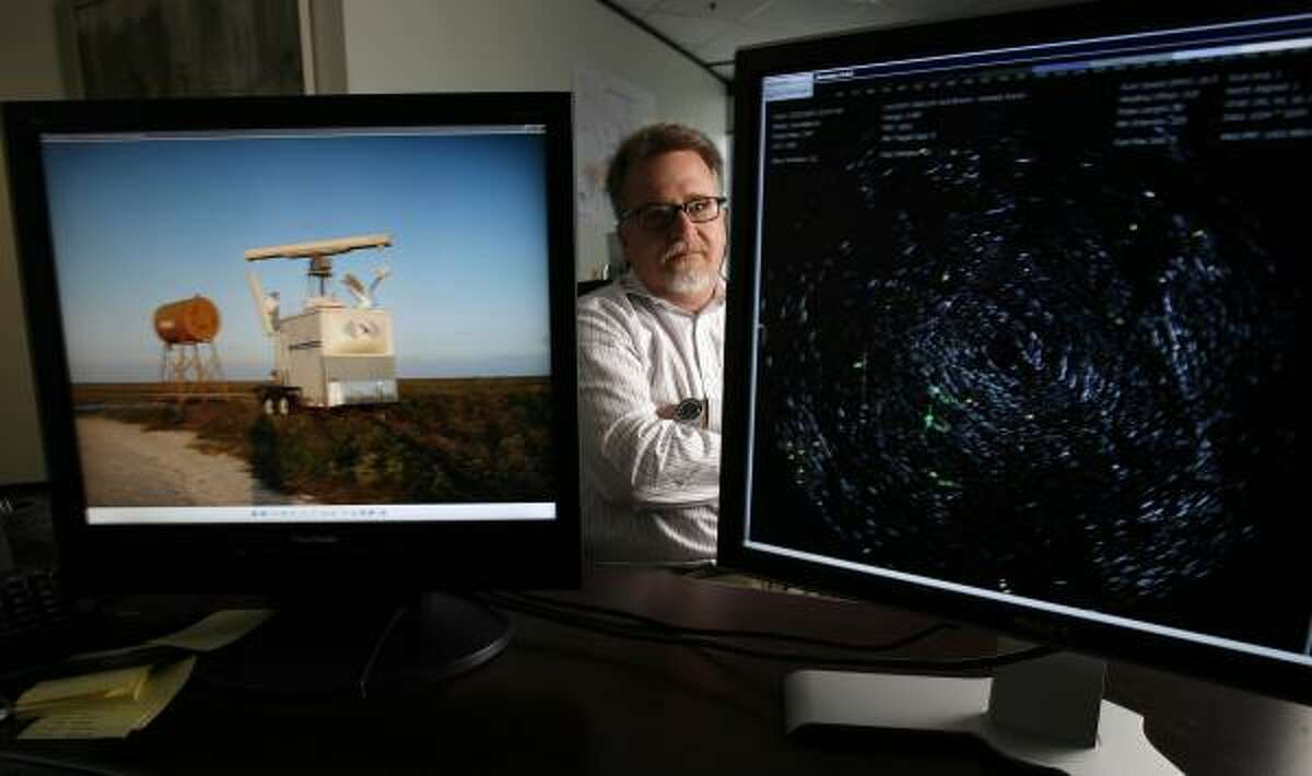 Monitors show a radar, left, that provides real-time display of bird activity on the Kenedy Ranch in South Texas, where plans are to build a wind farm. John Calaway, who is overseeing the project, says data show the threat to wildlife is not an issue.