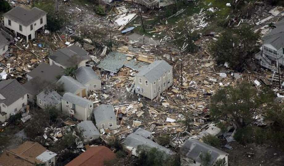 Debris from Hurricane Ike is shown in this aerial view Sunday in Crystal Beach, Texas. Photo: David J. Phillip, AP