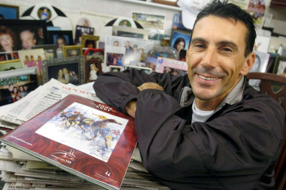Jockey Mario Pino has plenty of memorabilia at his Ellicott City, Md., home from a career that includes a great deal of success at Pimlico in Baltimore. Photo: Steve Ruark, AP