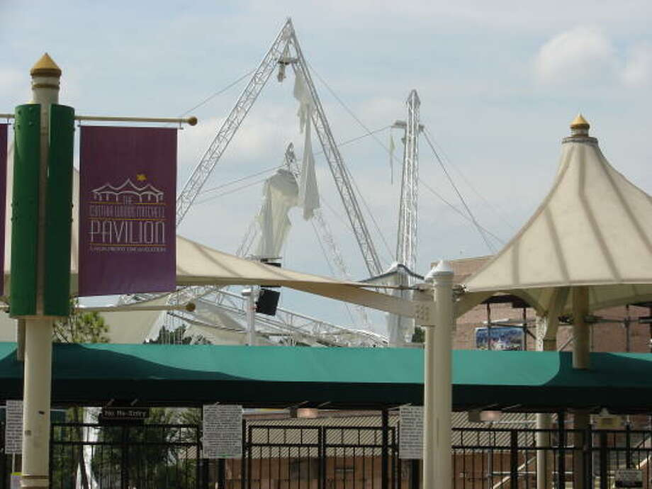 The Cynthia Woods Mitchell Pavilion in The Woodlands suffered damage to its main canopy during the storm, forcing the cancellation of at least three upcoming events. Photo: Adam Bennett, For The Chronicle