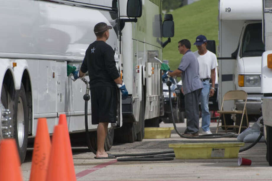 Buses are fueled at Tully Stadium so they can transport evacuees if needed. Photo: Steve Ueckert, Chronicle