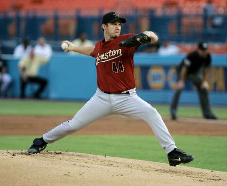 Astros pitcher Roy Oswalt started against the Florida Marlins on Tuesday. Photo: Wilfredo Lee, AP