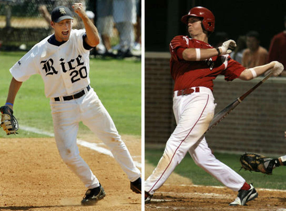 Joe Savery, left, has been a standout with Rice for three season. Kevin Ahrens has Chipper Jones-like playing style.