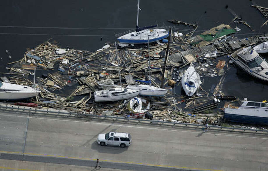 Boats line the road in after Hurricane Ike Sunday in Clear Lake, Texas. Photo: David J. Phillip, AP