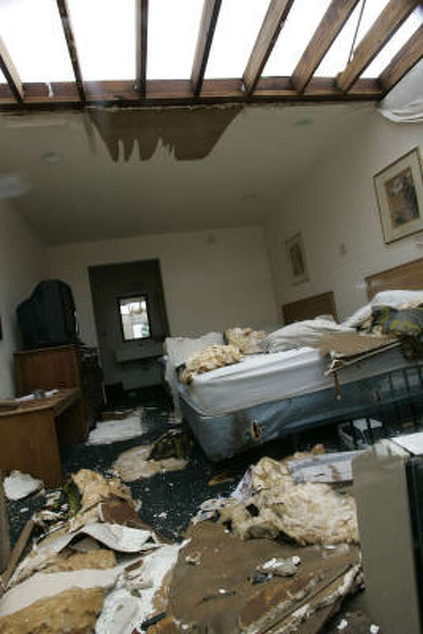 A room at the Astro Inn motel damaged by Hurricane Ike is shown Sunday in Houston. Photo: Frank Franklin II, AP