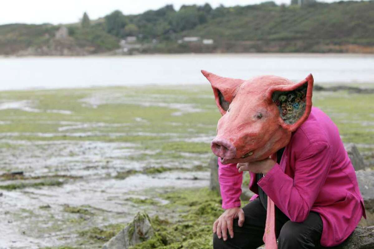 A man wearing a pig mask sits on a beach strewn with green algae and closed to the public in Hillion, western France.