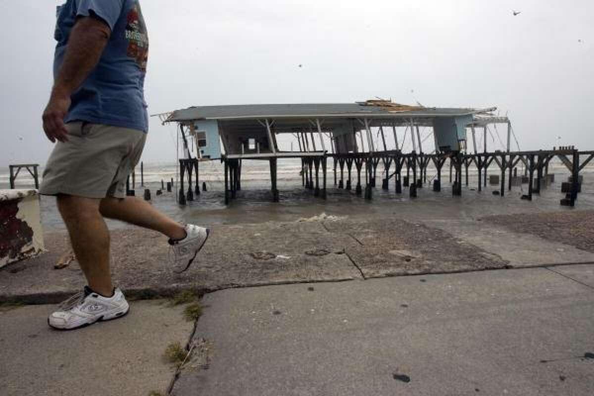 Hurricane Ike left the remnants of Murdock's Pier standing along Seawall Boulevard.