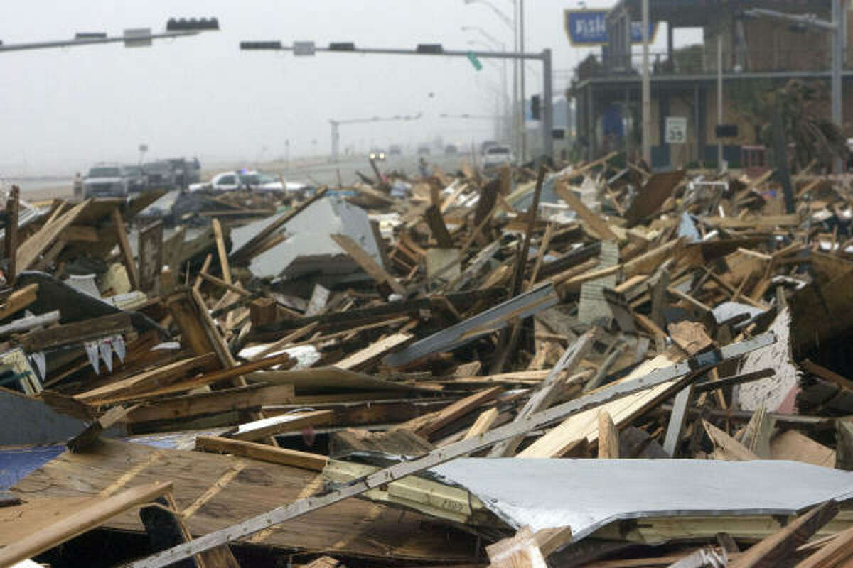 Hurricane Ike left the remnants of Murdock's Pier and Hooters along Seawall Boulevard.