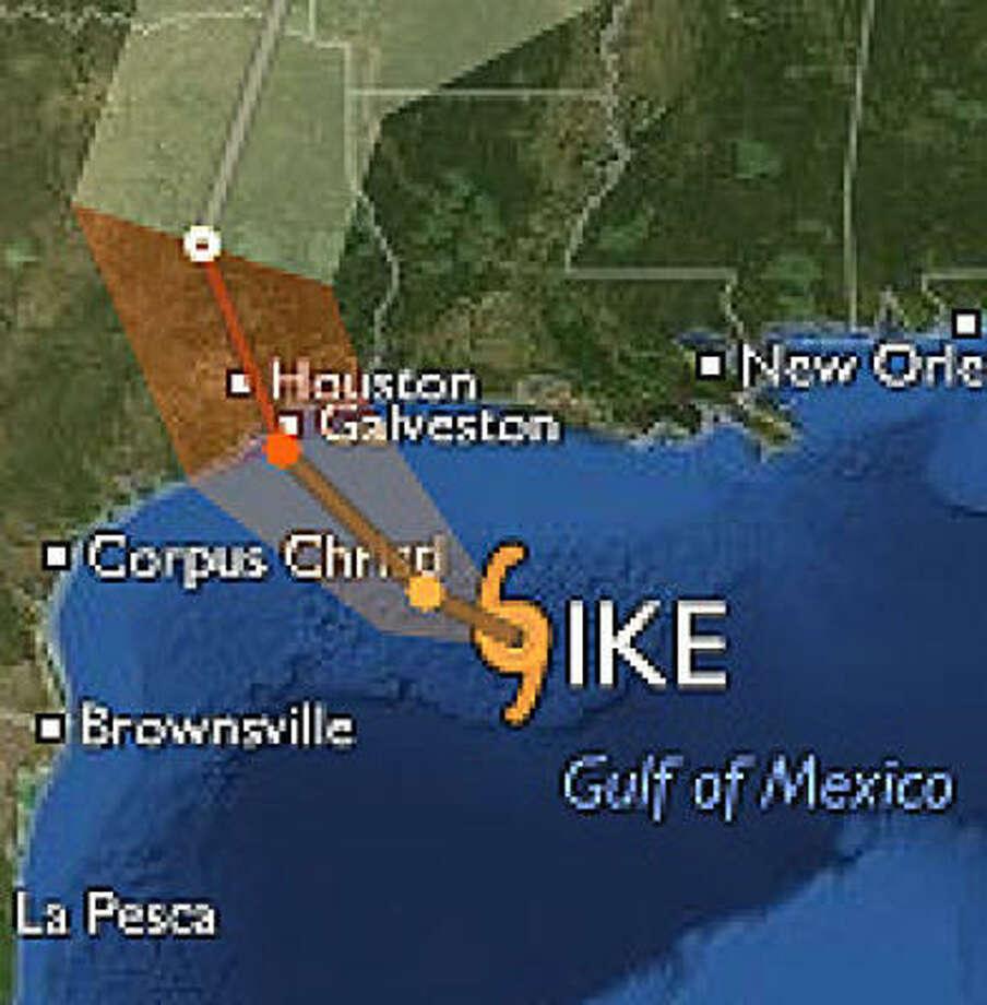 Posible trayectoria de Ike a pocas horas de su llegada a la costa de Texas.
