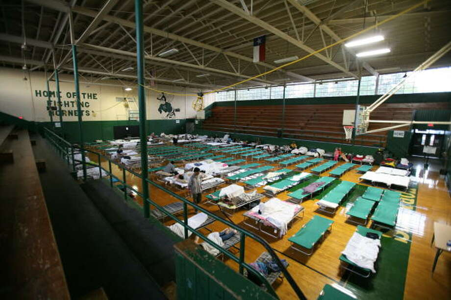 Mance Park Middle School in Huntsville is being used as a shelter for people evacuated from coastal areas. Photo: Steve Campbell, Chronicle