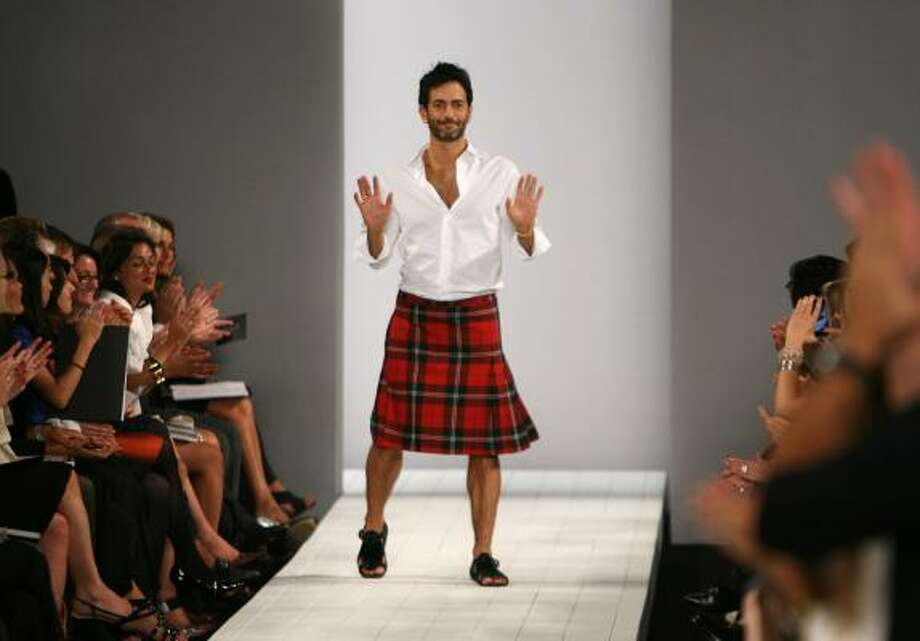 Designer Marc Jacobs walks out on the runway after the showing of his Marc by Marc Jacobs spring 2009 collection during Fashion Week in New York. Photo: Seth Wenig, AP