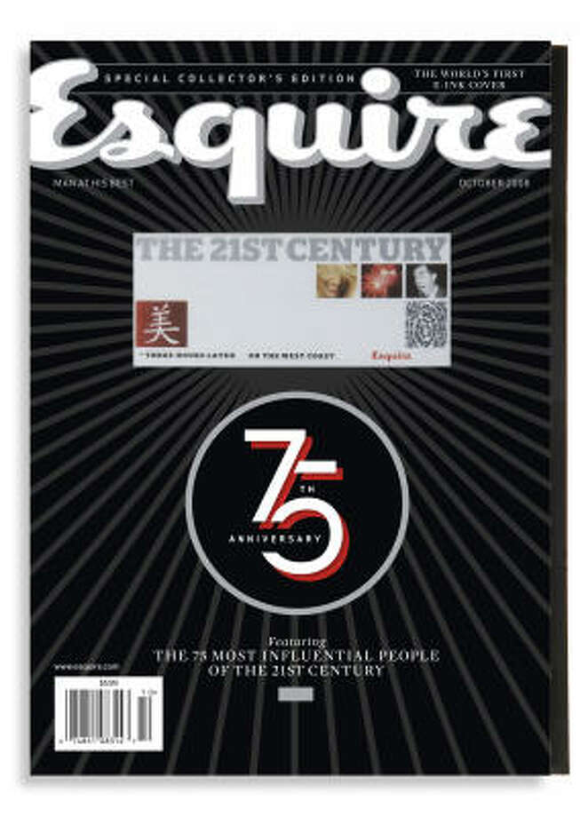 "The electronic portion of Esquire magazine's 75th anniversary issue slowly displays the phrase ""The 21st Century Begins Now."" Here's the first photo of a four-photo sequence. Photo: Esquire"