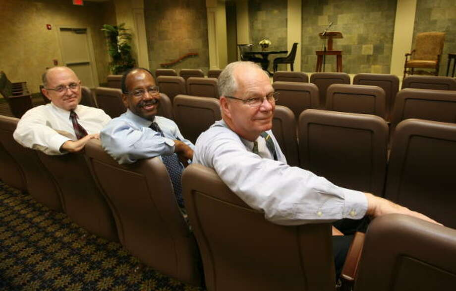 Church elders at Jehovah's Witness Kingdom Hall at 1821 Westborough Drive in Katy are from left, Mike Drexler, Denard White and Harold Braucht. Photo: Suzanne Rehak, For The Chronicle
