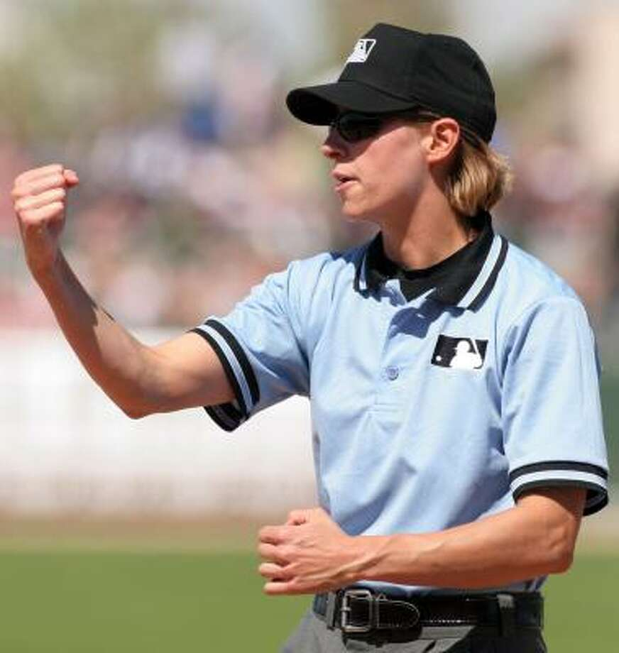 Ria Cortesio won't be able to realize her dream of becoming the first female umpire in the major leagues. Photo: ROY DABNER, ASSOCIATED PRESS