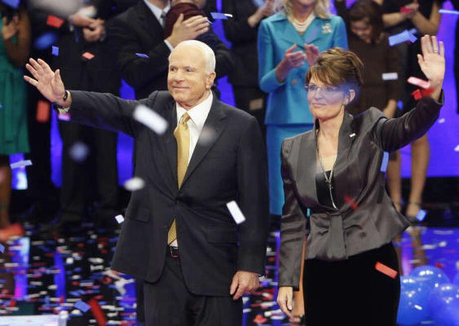 John McCain and Sarah Palin wave after his acceptance speech at the Republican National Convention in St. Paul, Minn., Thursday. Photo: Ron Edmonds, AP
