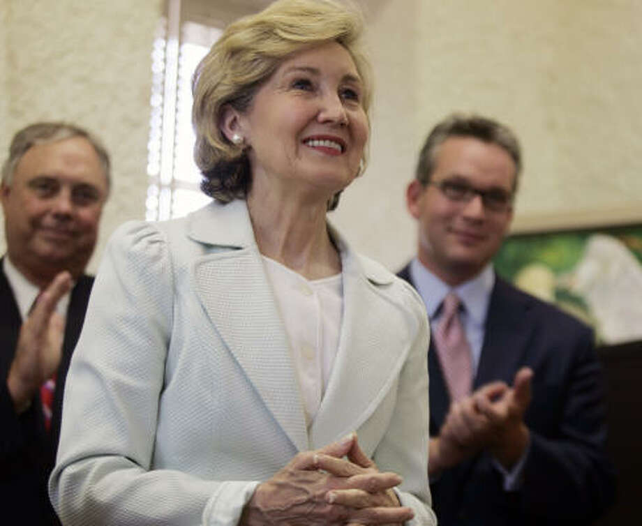 Kay Bailey Hutchison, Republican senator from Texas, is mother to daughter Bailey and son Houston.  Hutchison is scheduled to speak at the Republican National Convention. Photo: Brian Connelly, AP