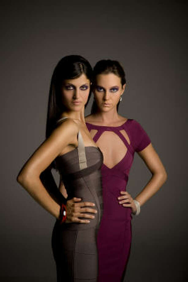 "Hervé Léger cranberry ""bandage'' dress, left. The gray Hervé Léger gray ""bandage'' dress on the right has a cranberry-hued hem. Photo: Robert Seale"