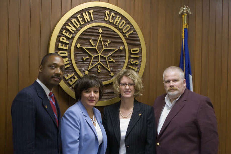 Alief's new high school principals are Dr. Walter Jackson, Alief Taylor High School; Hilda Rodriguez, Elsik High School; Jennifer Parker, Hastings High School; and Raymond Lowery, Kerr High School. Photo: R. Clayton McKee, For The Chronicle