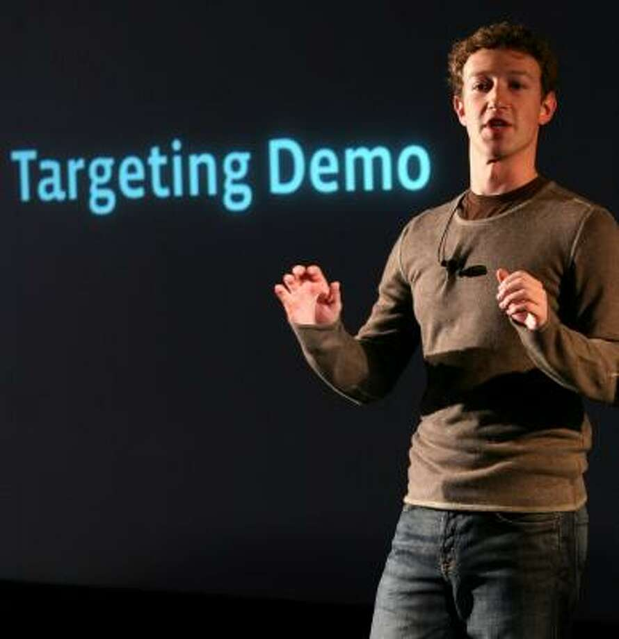 Facebook CEO and founder Mark Zuckerberg announces a new marketing program on Nov. 6. Two weeks later, some users of the online hangout are complaining that their purchases are being publicized on the Internet. Photo: Craig Ruttle, ASSOCIATED PRESS FILE