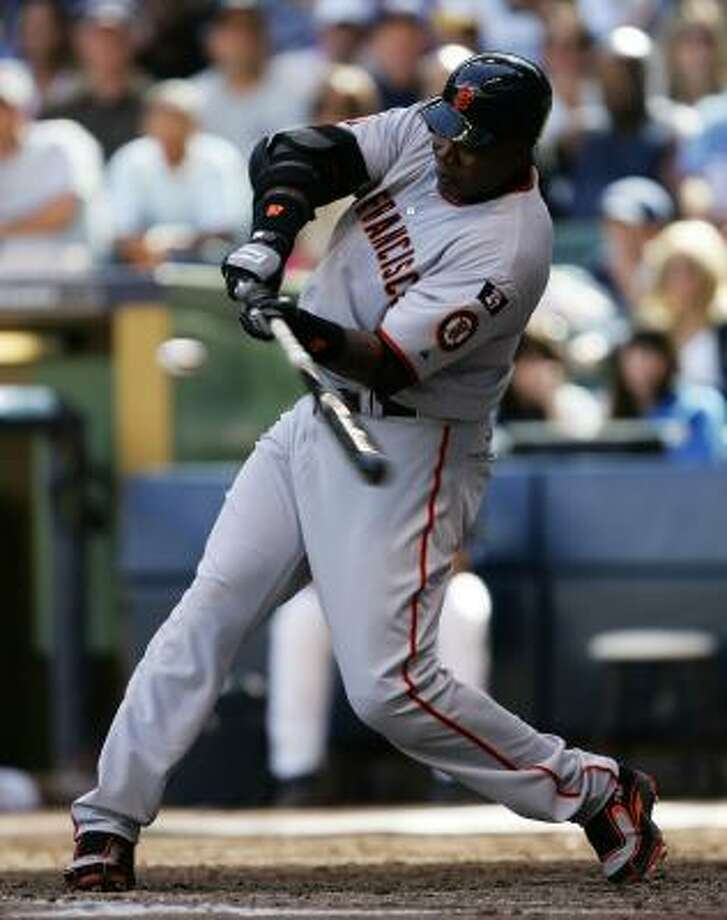 Barry Bonds, who at 753 home runs is three perfect swings away from breaking Hank Aaron's all-time record, will get another chance tonight against the Braves in San Francisco. Photo: Jonathan Daniel, Getty Images