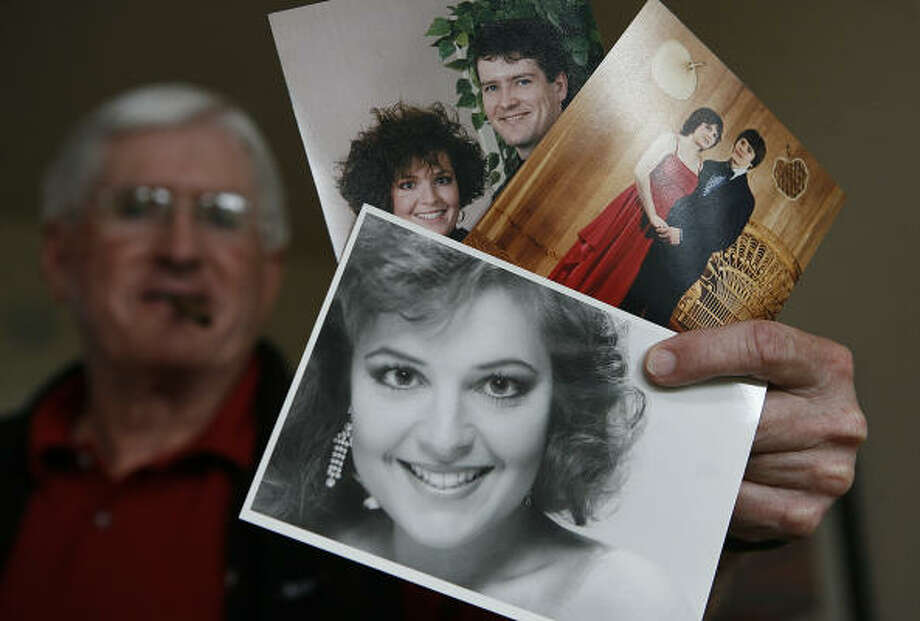 Jim Palin, father of Todd Palin, displays photos of Alaska Gov. Sarah Palin, including her beauty queen competition photo. Photo: Al Grillo, AP