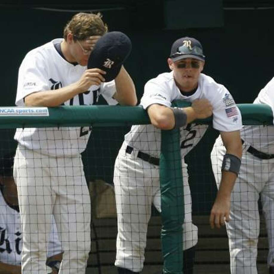 If he gets the start today against North Carolina, Rice's Ryan Berry, left, hopes to pitch better than he did Friday against Louisville. Photo: KEVIN FUJII, CHRONICLE