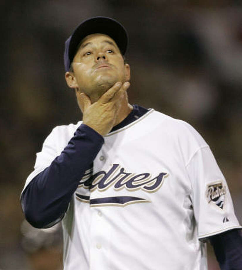 After careful consideration, Padres starter Greg Maddux would rather not have his name associated with a historic homer. Photo: Lenny Ignelzi, AP