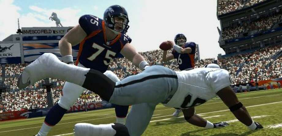 Football players take hard hits in Madden NFL 08. The Madden series comprises the only remaining games sanctioned by the NFL. Photo: Electronic Arts | Associated Press