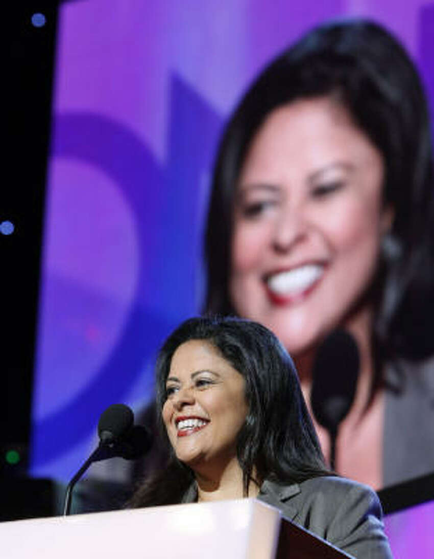 Maya Soetoro-Ng, half-sister of Democratic presidential candidate Sen. Barack Obama speaks about her brother during the Democratic National Convention in Denver.