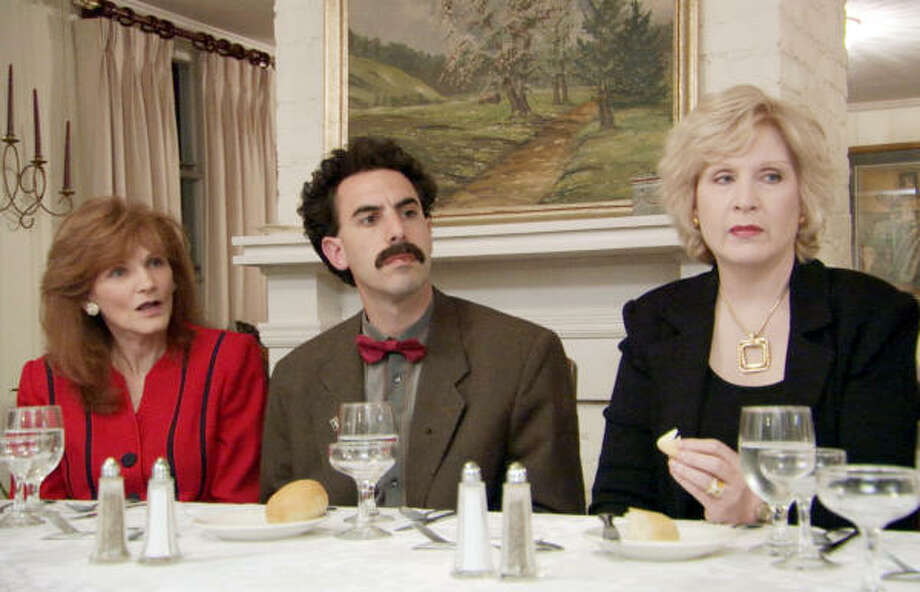 Borat takes lessons in American dining etiquette in Borat: Cultural Learnings of America for Make Benefit Glorious Nation of Kazakhstan, now available on DVD. Photo: 20th Century Fox