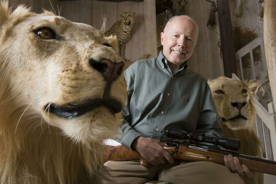 A strong energy industry help push Houston's richest man Dan Duncan, seen here with his wild game trophies, to No. 85 on the list with a net worth of $8.2 billion, compared with a rank of 100 and a net worth of $6 billion the prior year. Photo: BRETT COOMER, CHRONICLE File
