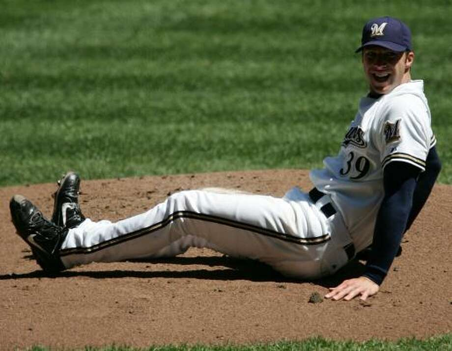 Brewers starter Chris Capuano hits the dirt after taking a line drive by Aaron Miles off his leg. Capuano stayed in the game for another one-plus innings before departing with a contusion on his calf. The bullpen picked up the slack with six scoreless innings. Photo: JONATHAN DANIEL, GETTY IMAGES