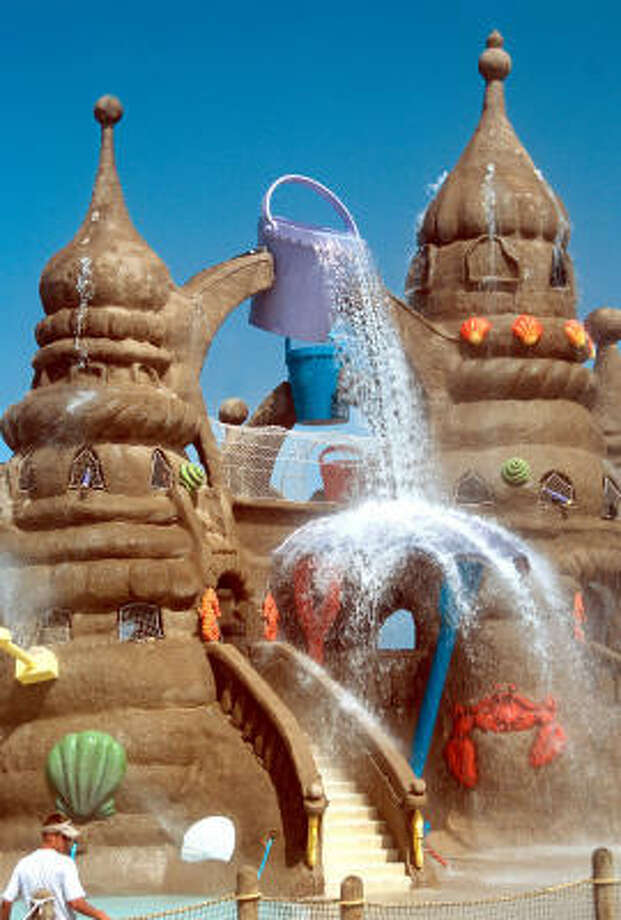 """This oversized """"sand castle"""" is part of Schlitterbahn water park on South Padre Island"""