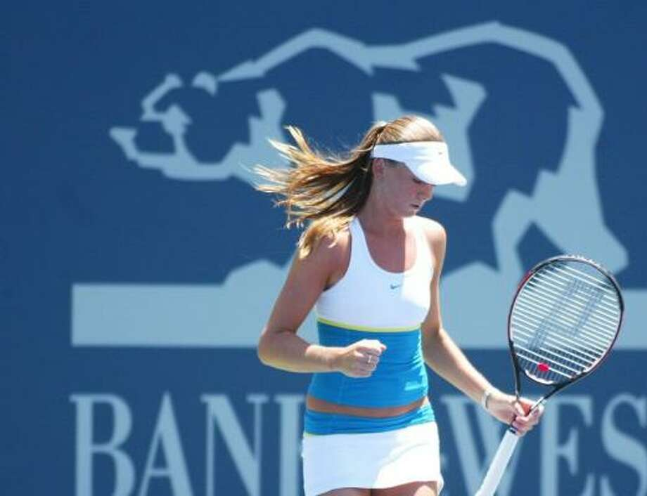 Third-seeded Daniela Hantuchova was pumped after her straight-set win over Olga Govortsova in the Bank of the West quarterfinals on Friday. Photo: Sara Wolfram, Getty Images