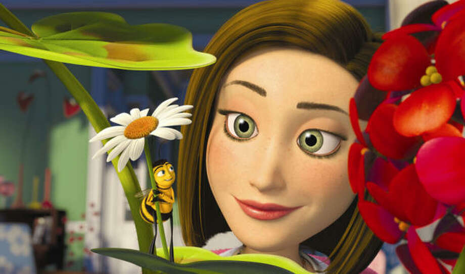 Barry B. Benson (Jerry Seinfeld) breaks a cardinal bee rule and speaks to a human for the first time, thus starting a friendship with a New York City florist by the name of Vanessa (Renee Zellweger) in Bee Movie. Photo: DreamWorks