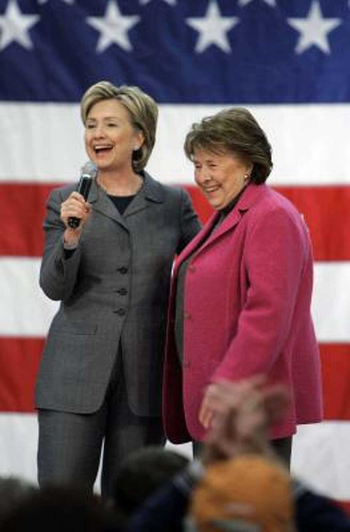 Sen. Hillary Rodham Clinton and her mother, Dorothy Rodham, in Iowa on Friday.