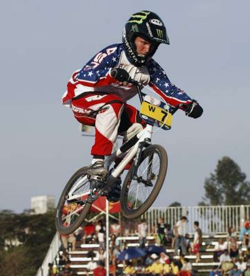 Donny Robinson is part of an American team that plans to dominate the inaugural BMX competition at the Olympics in Beijing. Photo: ASSOCIATED PRESS