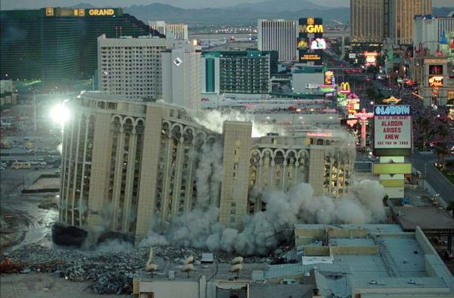 The Aladdin Hotel was imploded in 1998. A new Aladdin is now open. Photo: LENNOX MCLENDON, Associated Press