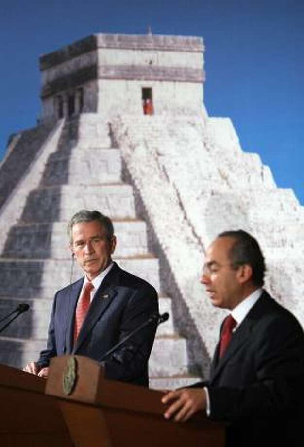 President Felipe Calderon lauded Mexican immigrants living in the U.S. for their perseverance Wednesday in Merida, Mexico. Photo: MANDEL NGAN, AFP / GETTY IMAGES
