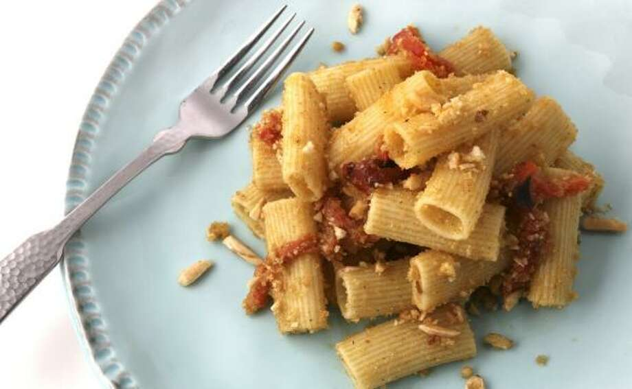 PEPPERY PASTA:The only cooking required is boiling the pasta and roasting the peppers. Photo: JULIA EWAN, WASHINGTON POST