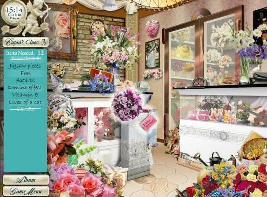 At Blooms by Heather, one of 16 hidden-puzzle scenes in Dream Day Wedding, players find items on bride-to-be Jenny's shopping list and get her closer to the big day.