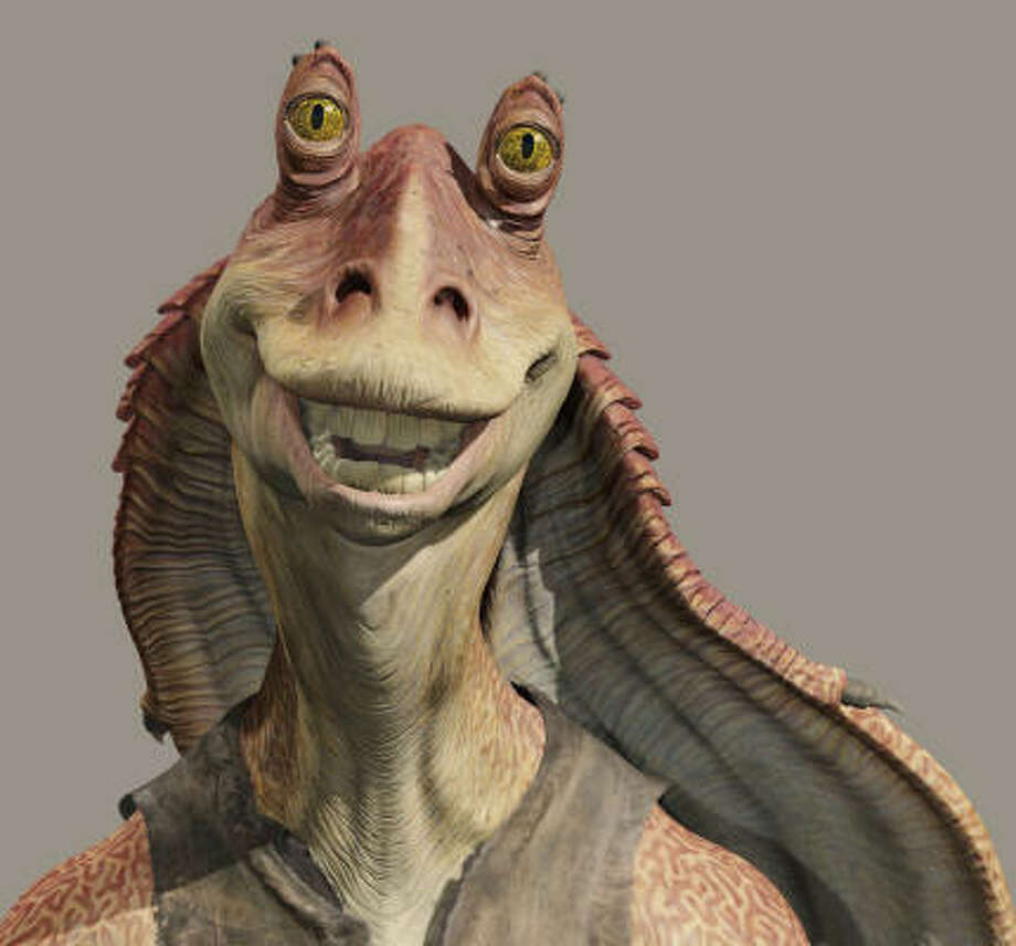 "Jar Jar BinksUgh. The Gungan from ""Star Wars I:The Phantom Menace"" turned off many fans with his apparent harking back to the ugly stereotypes of black minstrelsy, which George Lucas denied. But c'mon. Photo: AP"